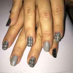 Black and grey  gel polish with stamping