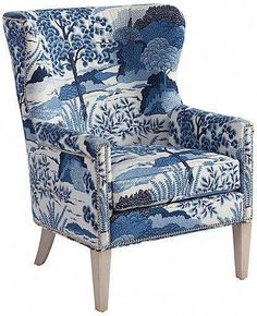 Avery Wingback Chair - Blue/White Linen - Barclay Butera home deco, blue chair, white chair, Upholstered Chairs, Chair Cushions, Chair Fabric, Swivel Chair, Wingback Chairs, Upholstery Fabrics, Chinoiserie, Poltrona Bergere, Living Room Chairs