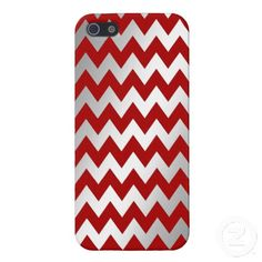 Silver Red Gradient Zigzag Chevron Pattern Cover For iPhone 5