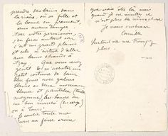 Letter from Camille Claudel to Auguste Rodin