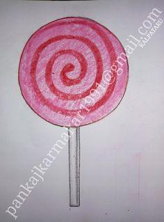 Easy Lollipop painting with oil pastel by Pankaj karmakar Small Drawings, Art Drawings For Kids, Drawing For Kids, Easy Drawings, Easy Painting For Kids, Simple Oil Painting, Art For Kids, Art Projects, Project Ideas