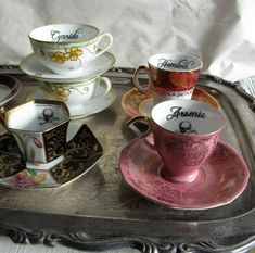 Poison Tea Cup and Saucer Pink and Gold Arsenic Gothic Antique altered china… Coffee Cups, Tea Cups, My Cup Of Tea, Mug Cup, High Tea, Afternoon Tea, Cup And Saucer, Tea Time, Tea Party
