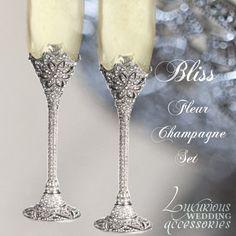 Bliss Fleur Swarovski Crystal Champagne Flutes