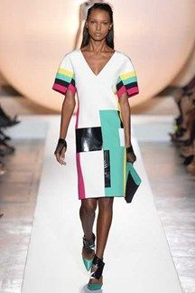 Cubism in Fashion - characterized by color blocking and mod, bold geometric prints.  This shift was designed by Roland Mouret SS 2014 show in Paris