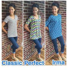 Comparison pic of LuLaRoe tops:  Classic tee, Perfect tee and Irma tunic