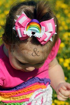Rainbow Hair Bow and Clippie