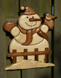 Snowman, pattern by Judy Gale Roberts Woods used : kotibe, hornbeam, Padouk, bocote, black walnut, tigerwood and ebony