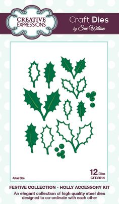 Sue Wilson Dies - Festive Collection - Holly Accessory Kit