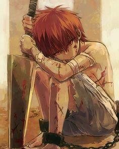 anime boy blood hurt injured pain