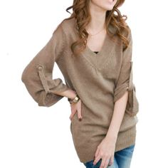 Amazon.com: Lady's V-neck Tunic Knitwear Pullover Sweater Dress Style Casual Khaki - Free Size: Clothing
