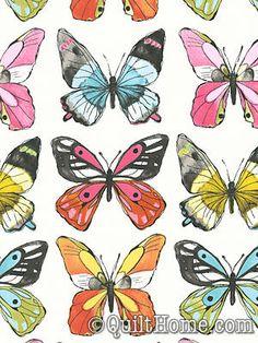 Flutter CJ6444-WHIT Fabric by Laura Gunn