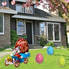 This Easter lawn decoration of the Easter bunny in a vintage car and 3 Easter eggs is great for your yard. Set is made of corrugated plastic (not cardboard) tha Easter Bunny Eggs, Happy Easter Bunny, Outdoor Signs, Indoor Outdoor, Easter Garden, Yard Party, Party Props, Seasonal Decor, Holiday Fun