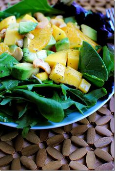 Avocado, mango, orange...and baby spinach.