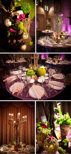 Mushrooms, moss balls, tree stumps make beautiful wedding reception centerpieces.