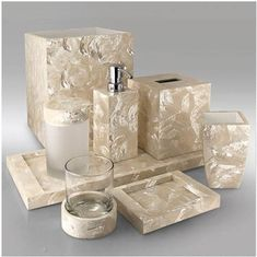 Opaline Mother of Pearl Shell Bathroom Set
