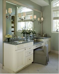 Double Sink Vanity With Make Up Table For Master Bathroom