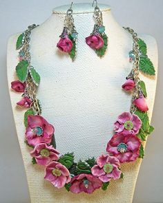 Beautiful necklace made from polymer clay by Laurel Stevens.