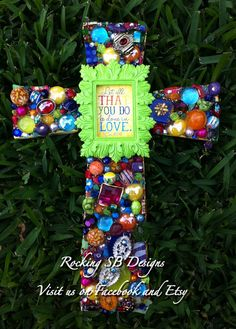 Let all that you do be done in LOVE cross  by RockingSBDesigns, $55.00