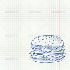 Hamburger Sketch #GraphicRiver Beef burger with cheese as a blue sketch on paper. Download includes fully editable vector file. You can move objects around, change colors and scale any part of the graphics. Contains set of files: Illustrator AI format version CS5 (fully editable vector), EPS format version 10 (fully editable vector) and high resolution JPG format (flattened bitmap). Any vector parts in the download were converted into curves. Created: 25June13 GraphicsFilesIncluded: JPGImage…