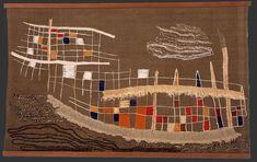 Split Level Ark by Mariska Karasz.  Mixed fiber on handwoven wool.