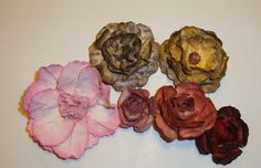 Spellbinders Rose Creations and Spiral Blossoms One... paper, card stock, book pages, and coffee filters!