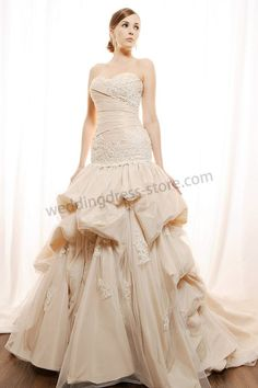 Strapless Sweetheart Applique Ruched Mermaid Cathedral Princess  wedding drees GL004