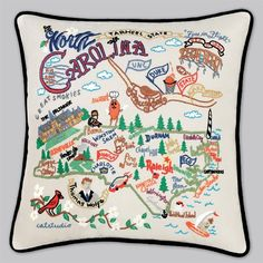 Cat Studio Embroidered State Pillow - North Carolina: $158?? Note to self: learn to embroider