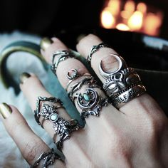 ♆ We are here to help you make your stacking dreams a reality! ♆ Shop Running With The Wolves Now! ✧♆✧ shopdixi.com ✧♆✧ dixi // jewellery // jewelry // boho // bohemian // grunge // goth // dark // mystic // magic // witchy // labradorite // sterling silver // pearl // ring