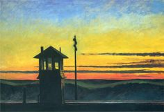 Railroad Sunset: 1929 by Edward Hopper  (Whitney Museum of American Art, NYC) - American Realism