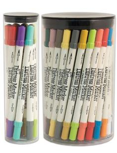Available in 37 Distress colors, Distress Markers are dual-tipped with water-based inks for coloring, journaling, stamping and more.