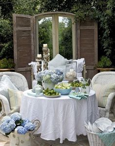 White sofa and Hydrangea