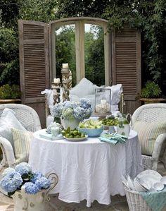 White sofa and Hydrangea