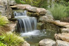 65 Ideas Backyard Diy Pond Design For 2019 Waterfall Landscaping, Pond Landscaping, Residential Landscaping, Landscaping Design, Backyard Water Feature, Ponds Backyard, Garden Ponds, Backyard Ideas, Koi Ponds