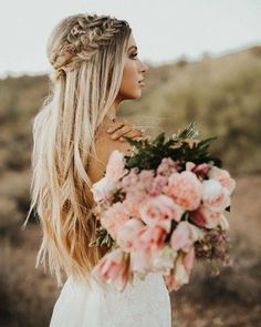 Crown Braid Long Hairstyle Wedding Hair Blonde Bridal within size 1080 X 1350 Wedding Hairstyles With Braids And Flowers - Any woman who has fine or thin Bride Flowers, Wedding Hair Flowers, Wedding Hair And Makeup, Flowers In Hair, Wedding Hair Blonde, Bride Makeup Blonde, Flower Braid Hair, Bridal Makeup, Crown Hairstyles