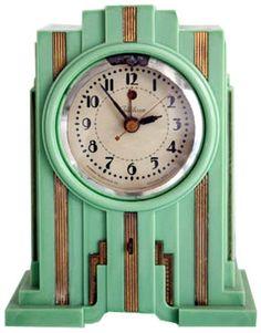 Telechron American Art Deco Skyscraper Clock in Mint Green