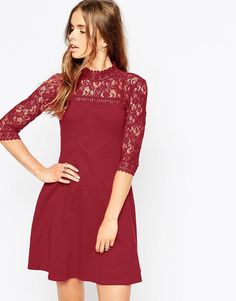 Image 1 ofASOS Skater Dress with High Neck and Mixed Lace Inserts