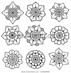 Set of Mehndi flower pattern for Henna drawing and tattoo. Decoration in ethnic oriental, Indian style. Set of Mehndi flower pattern for Henna drawing and tattoo. Decoration in ethnic oriental, Indian style. Henna Hand Designs, Mehndi Designs Book, Henna Flower Designs, Beginner Henna Designs, Henna Tattoo Muster, Henna Tattoos, Paisley Tattoos, Mehndi Tattoo, Henna Mehndi