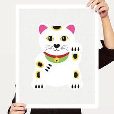 lucky cat print  Japanese Maneki-Neko Daruma art