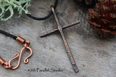 Hammered Copper Cross Necklace Copper by 45thParallelStudio