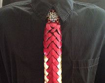 Iron Man Scalemaille and Chainmaille Necktie made with anodized aluminum. Marvel Avengers Scale Mail/ Scalemail/ Chainmail/ Chain Mail Tie