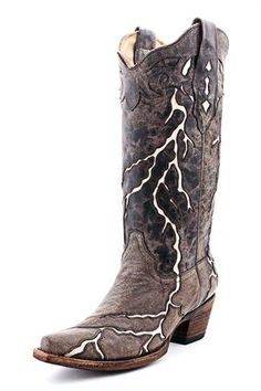 Corral Brown with Bone Lightning Cowgirl Boots