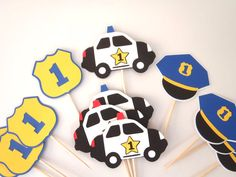 Police Party Cupcake Toppers Police Car by FeistyFarmersWife