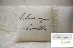 Faux Burlap Pillow/Personalized Handwriting Pillow/Remembrance Gift - In Memory Of / Bereavement / Mother's Day / Father's Day Jute Kissen / Gifts For Brother, Gifts For Mom, In Memory Gifts, In Memory Of, Homemade Gifts, Diy Gifts, Gift Crafts, Xmas Gifts, Remembrance Gifts
