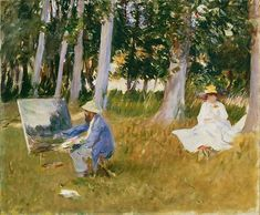 "John Singer Sargent (American, 1856–1925). Claude Monet Painting by the Edge of a Wood, 1885. Tate: Presented by Miss Emily Sargent and Mrs Ormond through the Art Fund, 1925 | This work is in our ""Sargent: Portraits of Artists and Friends,"" on view through October 4, 2015."