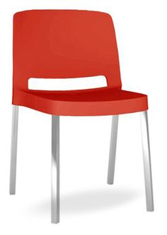 """""""Joi Contemporary Stack Chair"""".  A one piece moulded seat and back polypropylene chair. The legs are made in square satin anodized extruded aluminum with round edges.  Please contact us for pricing (718)363-3097."""