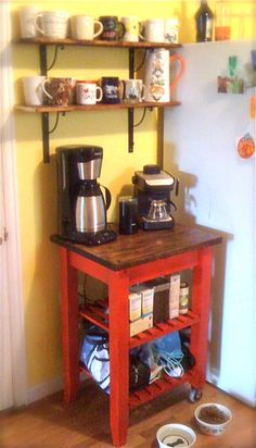 coffee station bar. Love the small space use. (Could do this with my little red arborite table!)