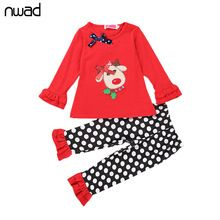 Baby Girl Deer Clothes Set 2016 Christmas Red Clothing Suit For Toddler Girls Lace Long Sleeve T Shirt + Polka Dot Pant FF165(China (Mainland))