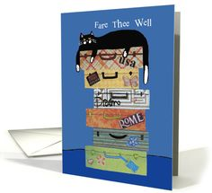 Fare Thee Well - Goodbye - Cat with Suitcases card (1466844)