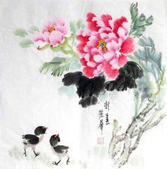 Chinese Peony Painting,50cm x 50cm,2485091-x