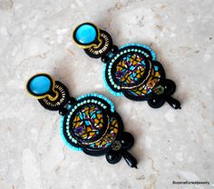 Soutache stud earrings by BozenaKorwatJewelry on Etsy